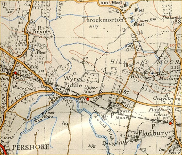 Pershore from 1930 OS map