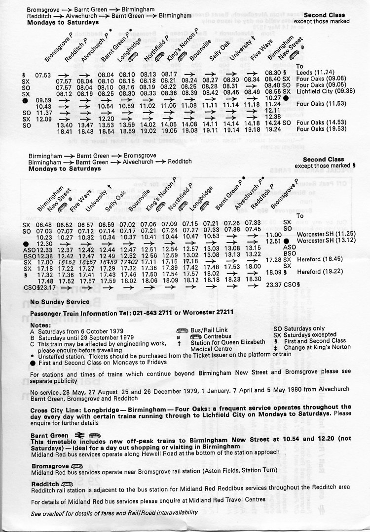 1979 timetable